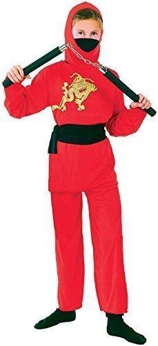 Jungen Mädchen Rot Ninja Büchertag Woche Halloween Japanisch aus aller welt Kostüm Kleid Outfit 4-12 jahre - Rot, 10-12 - Aus Kostüme Aller Welt