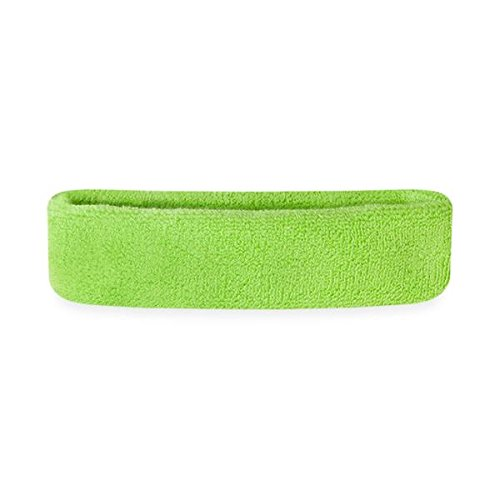Suddora Kids Head Sweatband - Athletic Cotton Terry Cloth Headbands for Sports (Neon Green)