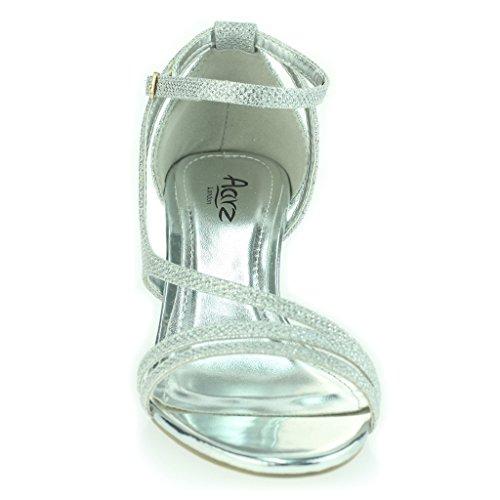 Grilhão Sapatos Dedo Aberto Baile De Cinto Calcanhar Senhoras Meados Fina Festa Mulheres Noite Prata Casamento Sandálias Tamanho À xqp0cfX
