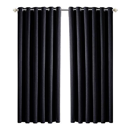 Imperial eingewebtes Vorhänge Superweicher isoliert Thermo-Verdunklungsvorhänge Falte Paar Vorhänge für Wohnzimmer, Ring Top/Black, 90
