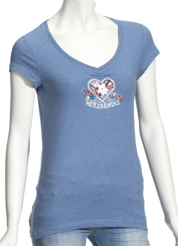 Adelheid Herzbandl Leibchen Mode kurzer Arm 111110252 Damen Shirts/T-Shirts, Gr. 38 (M), Blau (blau meliert 258)