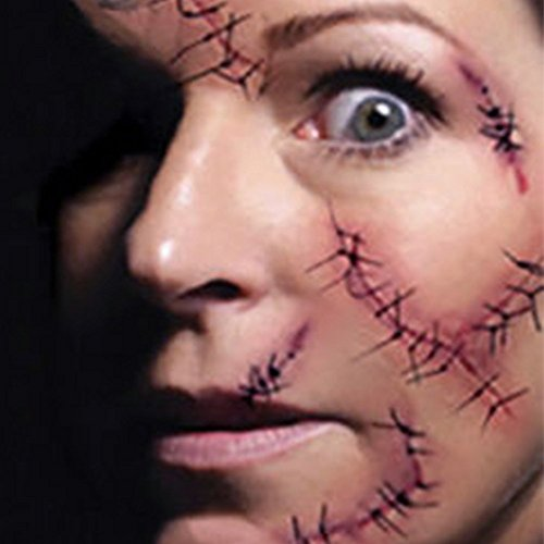 Dealglad® 10 piezas Horror sangriento falsa realista de la herida de la puntada cicatriz sarna tatuaje temporal impermeable para Halloween mascarada accesorios de maquillaje de broma