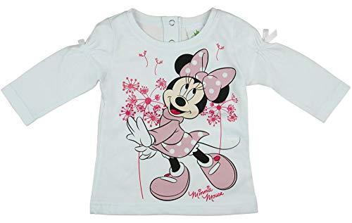 Mädchen Langarm-Shirt Minnie Mouse, Oberteil 100{246c279f9e91562dd013a7460cf90ee25162de426c0541f72137fbd1753ca3ea} Baumwolle in GRÖSSE 74, 80, 86, 92, 98, 104, Longsleeve, Sweat-Shirt in rosa oder weiß mit süßem Schleifchen Farbe Weiss, Größe 74