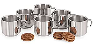 Komal Stainless Steel Double Wall Tea Cup 6pcs.
