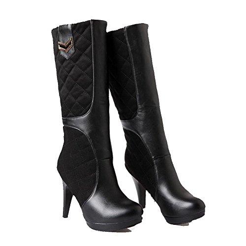 AllhqFashion Damen Hoher Absatz Eingelegt Rund Zehe Ziehen Auf Stiefel mit Metallisch Schwarz