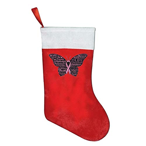 Ribbon Butterfly- Breast Cancer Personalized Christmas Stocking, Xmas Winter Wonderland Party Supplies yellow socks ()
