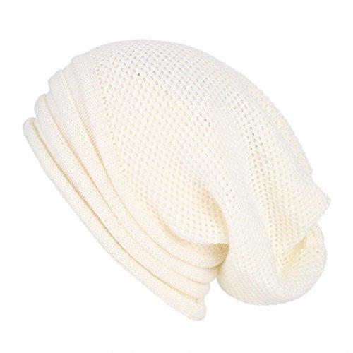 jaminy Männer Frauen Baggy Warm Crochet Winter Wolle Stricken Ski Beanie Schädel Slouchy Caps Hut (Weiß) (Wickel Seide Bluse Chiffon)