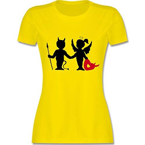 Symbole - Teufel und Elfe mit Herz - tailliertes Premium T-Shirt mit Rundhalsausschnitt für Damen Lemon Gelb