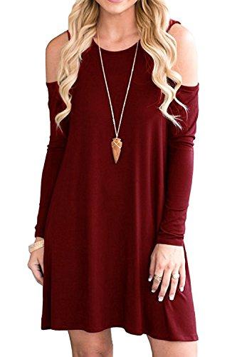 Minetom Donna Vestito Casuale T Shirt Swing Abito Manica Lunga Girocollo Beach Vestiti A Line Primavera Estate Mini Dress Con Tasche B Vino Rosso