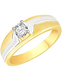 VK Jewels Two Tone Gold And Rhodium Plated Alloy CZ American Diamond Ring For Men [VKFR2637G]