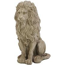 Steinfigur Tierfigur Löwe nach rechts schauend grau patiniert