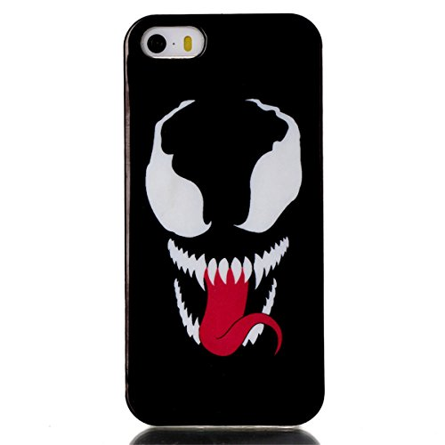 iPhone 5S Coque, iPhone 5 Coque, Lifeturt [ Big bouche chat ] Housse Anti-dérapante Absorbant Chocs Protection Etui Silicone Gel TPU Bumper Case pour Apple iPhone 5 / 5S E02-Yeux terribles et Mouth653