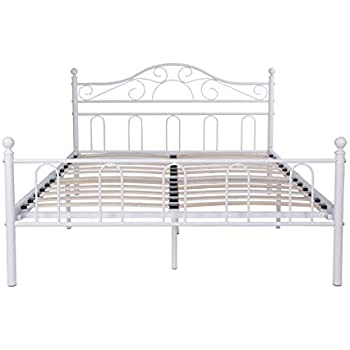 Aingoo Double Bed Frame With Wood Slats Solid 4ft 6 Metal