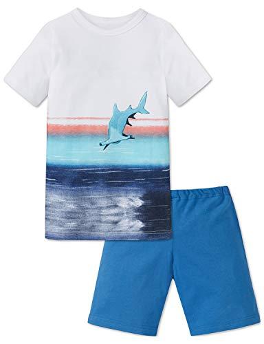 Schiesser Jungen Kn Anzug kurz Zweiteiliger Schlafanzug, Weiss 100, (Herstellergröße: 128)