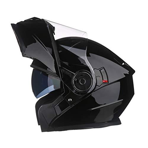 Casco moto integrale da uomo con Bluetooth, casco antifogging a doppia lente, cappuccio di sicurezza flip-up per quattro stagioni 55-65cm