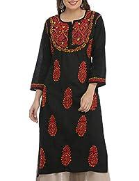 28e3a52ad8 ADA Hand Embroidered Lucknow Chikan Regular Wear Cotton Kurti Kurta  (A373637_Black)