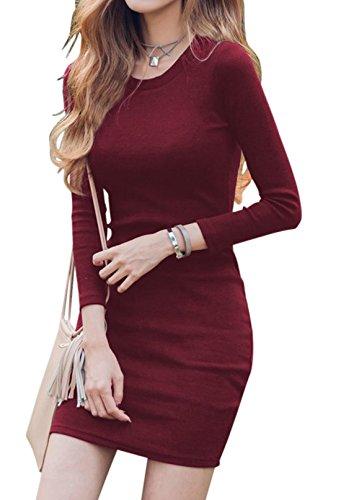 erdbeerloft - Damen Figurbetontes Kleid mit langen Ärmeln, XS-XL, Viele Farben Bordeaux