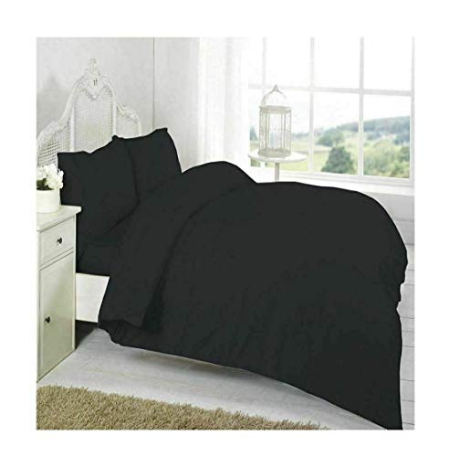 FashioN HuB Luxuriöser weicher T200 Bettbezug Set aus 100% ägyptischer Baumwolle Pillow Case Black 1 Pair (Schokolade Bettwäsche Und Rosa)