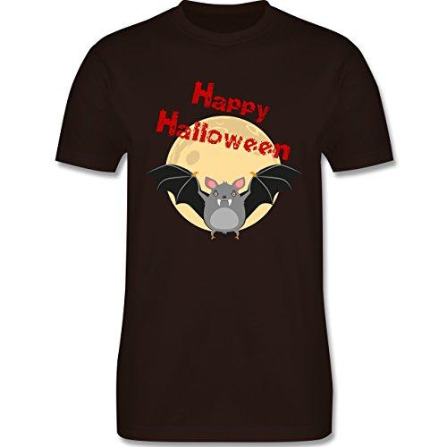 Halloween - Happy Halloween Fledermaus - Herren Premium T-Shirt Braun