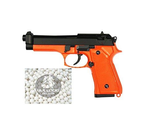 HFC Softair Federdruck Pistole M9 Stil, 0.5 Joules, Gratis Bulldog Airsoft 2000 BBS, HA118 In Orange/Schwarz -