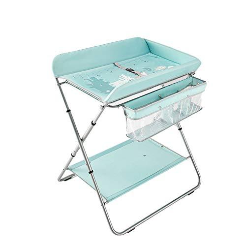 G-Changing Tables GUO@ Kinderbett Windeltisch Multifunktionaler Pflegetisch Badestation Portable Collapsible Storage Wechseltisch HöHe 2-Fach Verstellbar Variabler WäSchestäNder Nicht UntäTig Blau -