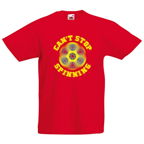 Kinder T-Shirt Can't Stop Spinning - Fidget Spinner,Spinner Spiel (5-6 Years Rot Mehrfarben)
