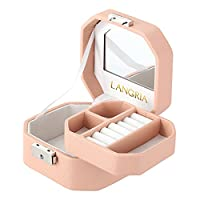 LANGRIA Embossed Faux Leather Jewelry Box, Octagonal Shape with Built-in Mirror, Lockable, Compact Size, Makeup and Accessories Storage Organizer Case (Pink)