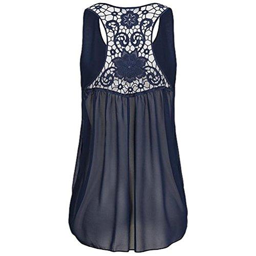 TITIU Damen Frauen Mode Top Sommer ärmellosen Chiffon Tuniken Bluse Hem Scoop T Shirts Top Oberteil Tees(Dunkelblau,EU/44-CN/2XL) (Sweatshirt Scoop Fleece Neck)