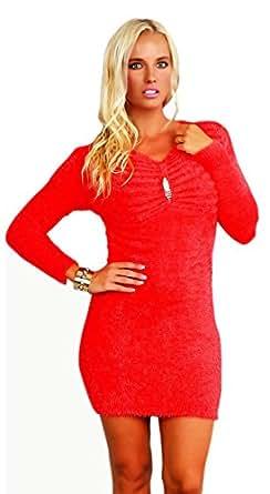 10132 Fashion4Young Damen kuschel Minikleid LongPullover Pullover Pulli Kleid in 6 Farben 2 Größen (S/M=34/36, Coral)