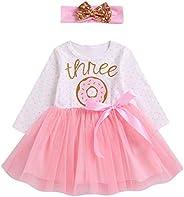 Vestito Bambina Neonata con Tulle per Compleanno Senza Maniche/Maniche Lunghe a Vita Alta Stampato di Ciambell