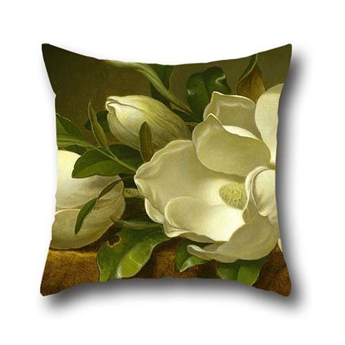 Oil Painting Martin Johnson Heade - Magnolias On Gold Velvet Cloth Cushion Covers ,best For Kids,indoor,home Theater,father,wife,car Seat 18 X 18 Inches / 45 By 45 Cm(twice Sides)