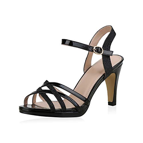 SCARPE VITA Damen Pumps Sandaletten Riemchensandaletten Elegante Absatzschuhe Metallic Schuhe Stiletto High Heels Glitzer 183228 Schwarz 37 (Schwarze Riemchen Stiletto)