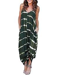b9d476d46 VONDA Women s Split V Neck Short Sleeve with Side Pockets Summer Long Maxi  Dress