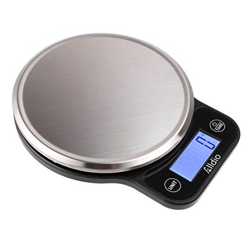 Digitale Küchenwaage Kleine Edelstahlwaage Kochen Lebensmittelwaage 1g / 5kg mit Hintergrundbeleuchtung LCD Tara funktion Inkl Batterie