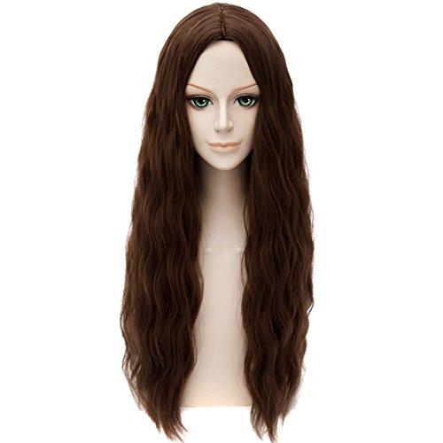 QITUN.Z Scarlet Witch Mittelscheitel Haarschnitt Frauen Cosplay Braunen Langen Wellenförmigen Lockigen (Braune Perücke Lange)