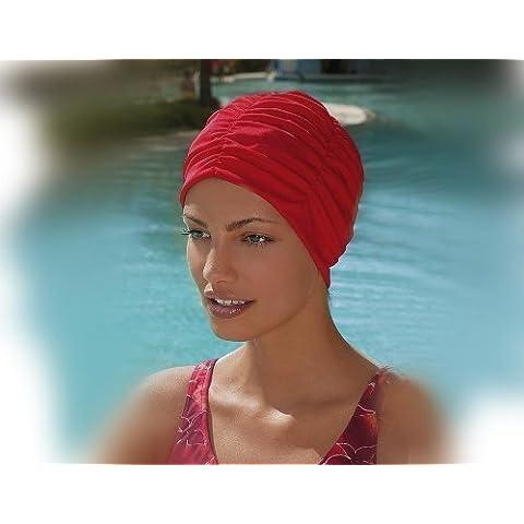 Fashy - Gorro de natación para mujer, diseño de turbante, color rojo