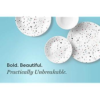 Corelle 3949 Terrazzo Rosa Chip & Break Resistant 18pc Dinner Set, Service for 6, Vitrelle Glass