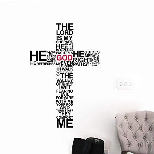 Precio de fábrica de dibujos animados TIPOGRAFÍA CRISTIANO Dios Etiqueta de etiqueta de arte de la cruz de Jesús Cristo Salmo Orar Biblia Dormitorio Mural