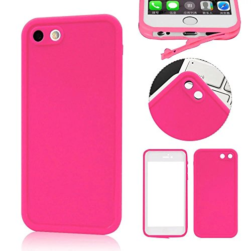 Wasserdicht iPhone 6S Plus Hülle, iPhone 6 Plus Waterproof Case, MOMDAD Full Body Beidseitiger 360 Schutzhülle für iPhone 6S Plus / 6 Plus Handyhülle Ultra Thin TPU Silikon Touchscreen Kratzfeste Stau Rose Red