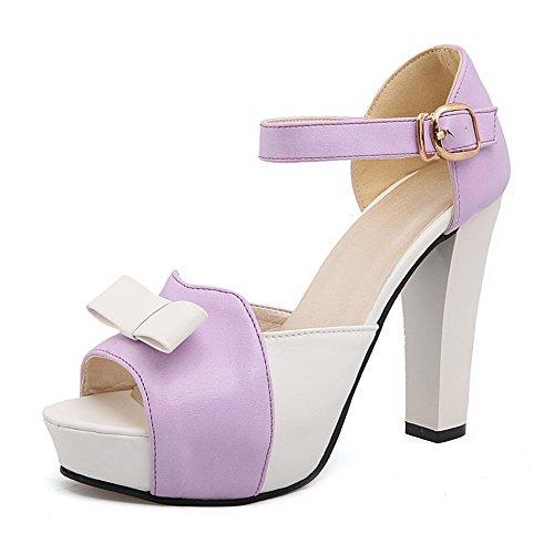 VogueZone009 Damen Offener Zehe Gemischte Farbe Hoher Absatz Sandalen Mit Hohem Absatz Lila