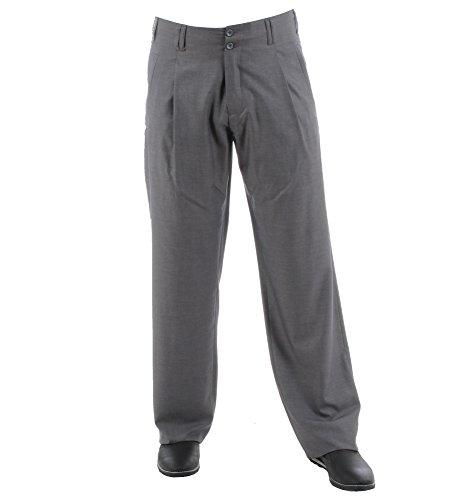 Luxus Bundfalten Hose Grau, Retro-Vintage Swing Lindy Hop Outfit Herren Hose mit Bundfalte Baumwollmischung mit Extraweit geschnittene Beine Größe 60