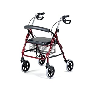 Four Wheeled Heavy Duty Rollator - Ruby - Up to 25st - Padded Seat - VAT Inc Healthcare