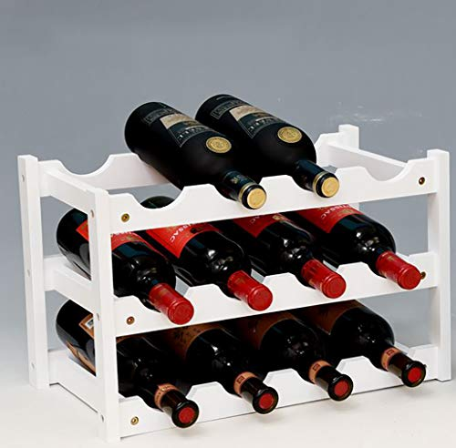 Handmade wine rack nature bamboo solid wood 16 carbonization process bottles for home mounted bar, bamboowhite, 12
