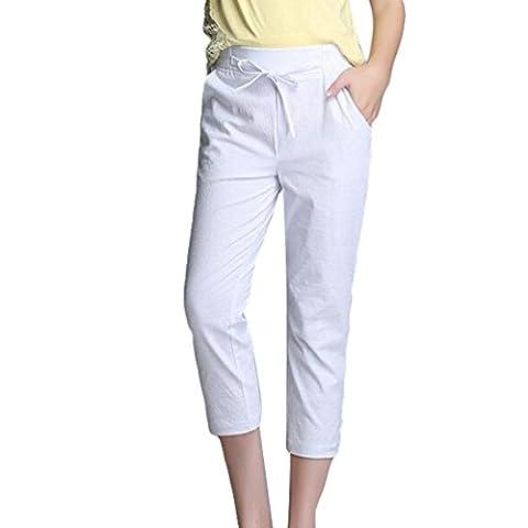 YiLianDa Pantalons Femme Taille Élastique Décontracté Pantacourt Legging Grande Taille Blanc 2XL