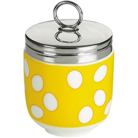 Forma de huevo recipiente DRH/escalfador de huevos, Amarillo de lunares - 990112g + 1570