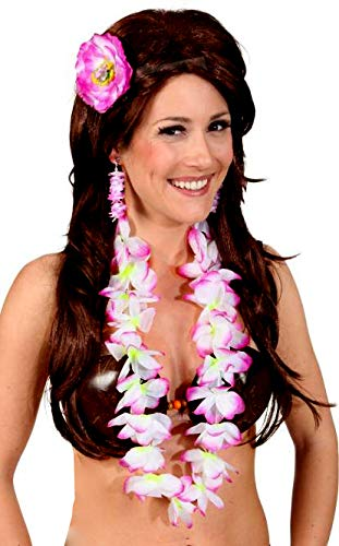 shoperama Hawaii Blumen Schmuck Set Ohrclipse Haarspange Kette Damen Strand Beach Party Urlaub Hula ()