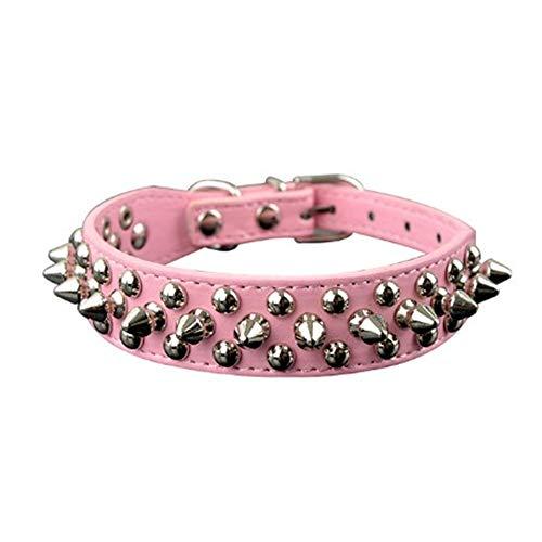 Oppinty Hundehalsbänder, 9 Farben, 2,5 cm Breite, PU-Leder-Haustierhalsband, Runde, mit Spikes besetzte Hundehalsbänder, für kleine, mittelgroße Hunde XS/S/M/L Pink XS