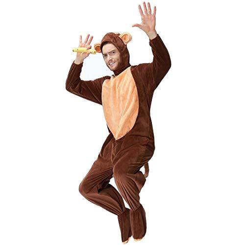 t Onesie Erwachsene Unisex Tier Fasching Karneval Halloween kostüm Cosplay Schlafanzug- Größe M, XL, Affe. ()