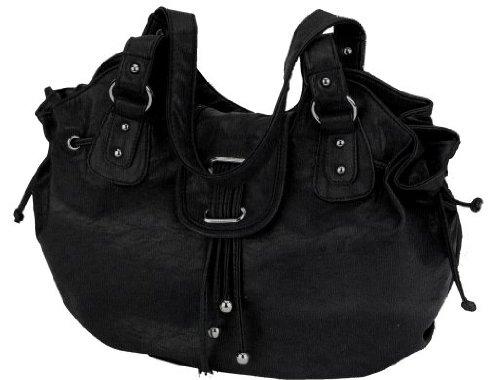 Alessandro PALLINA 3091 Handbag Damen Henkeltasche Schultertasche mit Handyfach und RV-Rückfach in 4 Farben ca. 40/31/20 cm Schwarz