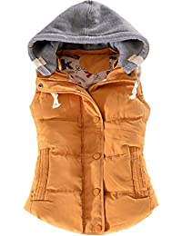 f38a98195579 EMMA Women s Quilted Button Removable Hood Padded Gilet Casual Warm Winter  Autumn Vest Down Sleeveless Jacket